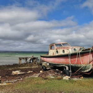 Old boat at Pebble dock