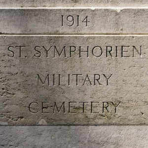 Detail of stone gatepost St Symphorien Military Cemetery