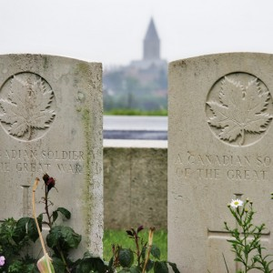 Gravestones of two unknown Canadian soldiers, Passchendaele New British Cemetery